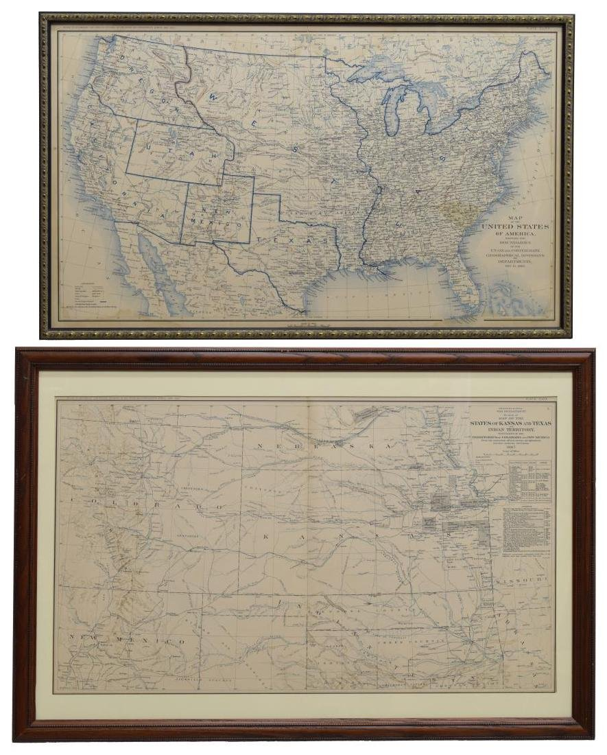 (2) FRAMED MAPS, INDIAN TERRITORY & UNITED STATES