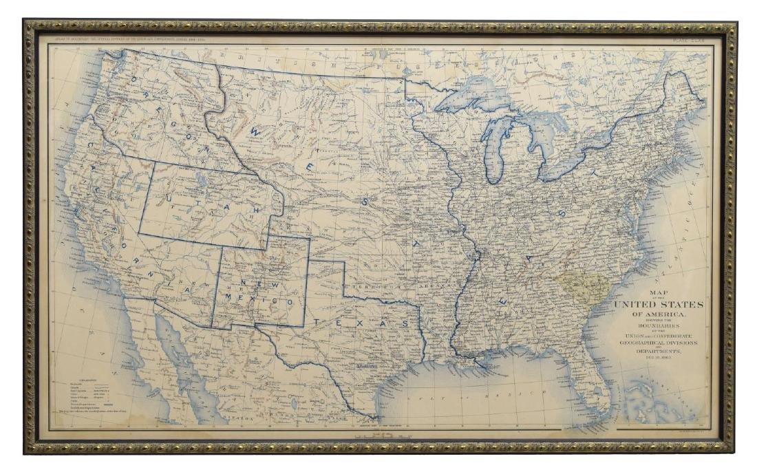 (2) FRAMED MAPS, INDIAN TERRITORY & UNITED STATES - 2