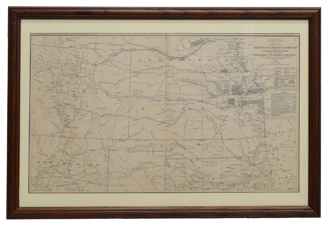 (2) FRAMED MAPS, INDIAN TERRITORY & UNITED STATES - 4