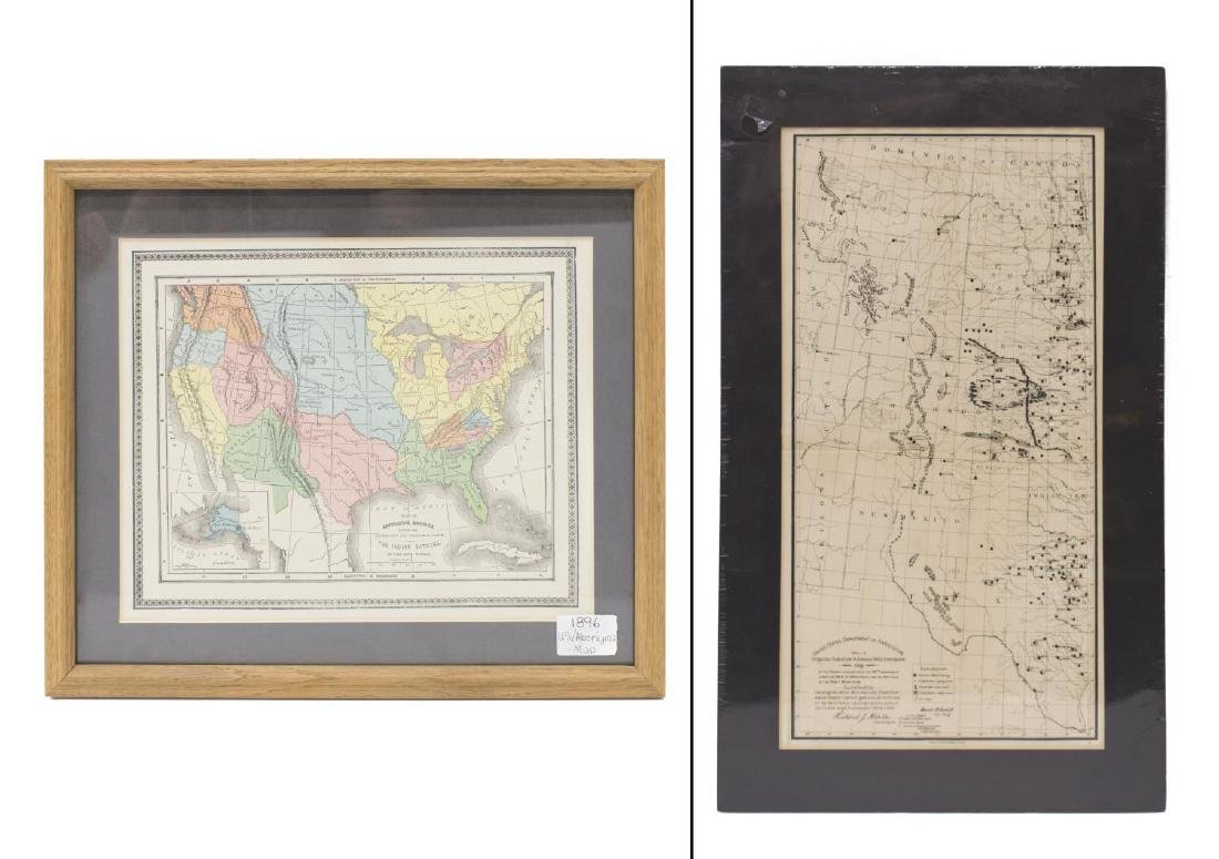 (2) 1893 MAP U.S. INDIAN TERRITORIES & WATER MAP