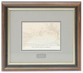 """FRAMED MAP, """"SAN JACINTO BATTLE-GROUND"""", 1856"""