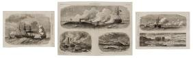 (3) U.S. CIVIL WAR ILLUSTRATIONS, IRON CLAD SHIPS