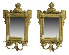 (2) LOUIS XV STYLE MIRRORED 2-LIGHT WALL SCONCES