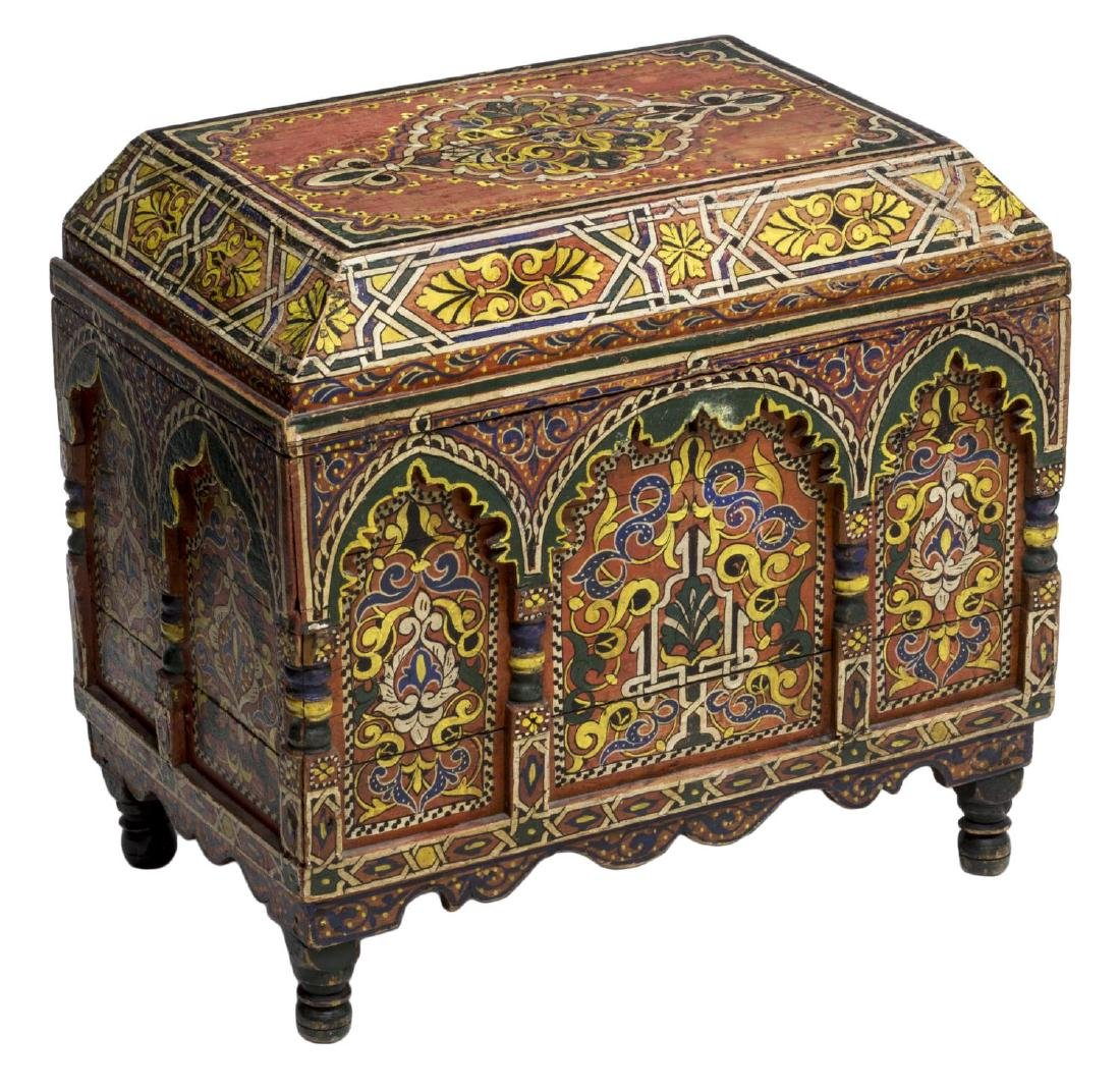 ITALIAN ARABESQUE POLYCHROME BOX, 19TH C.