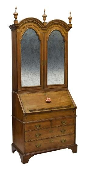 QUEEN ANNE STYLE FALL FRONT SECRETARY BOOKCASE