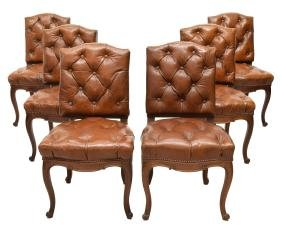(6) FRENCH LOUIS XV STYLE TUFTED CHAIRS