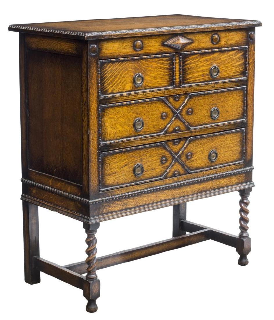 ENGLISH JACOBEAN STYLE CARVED OAK CHEST OF DRAWERS
