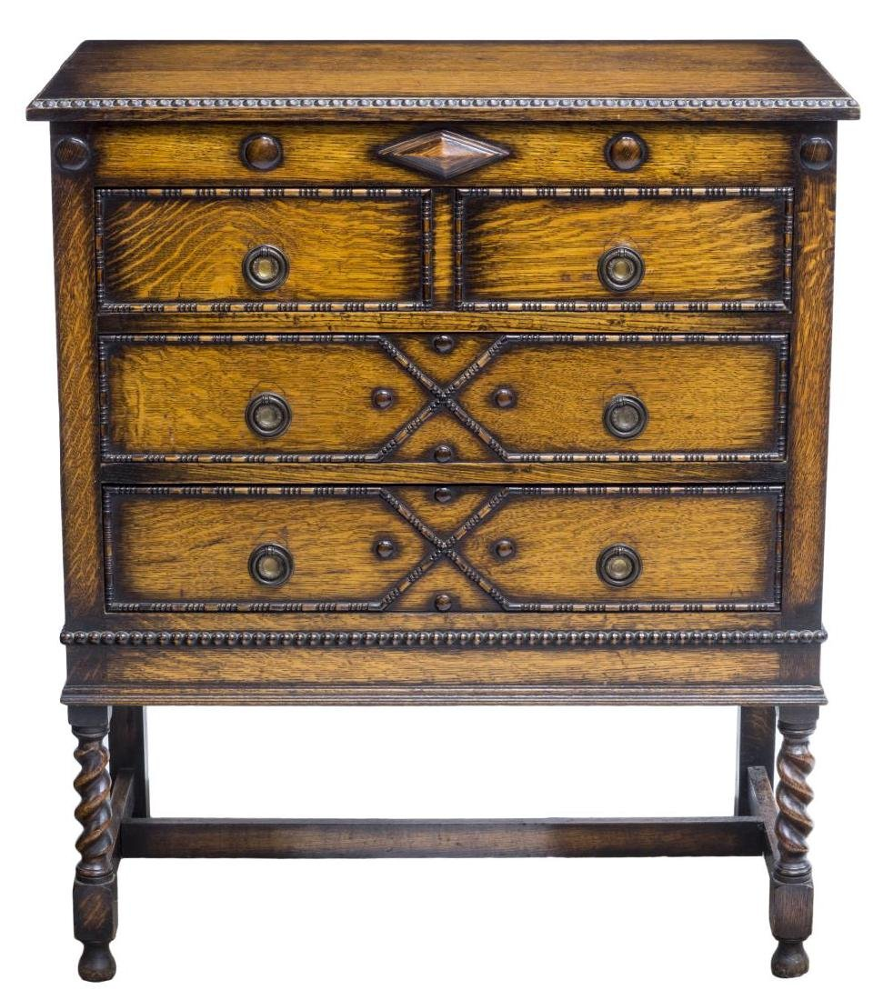 ENGLISH JACOBEAN STYLE CARVED OAK CHEST OF DRAWERS - 2