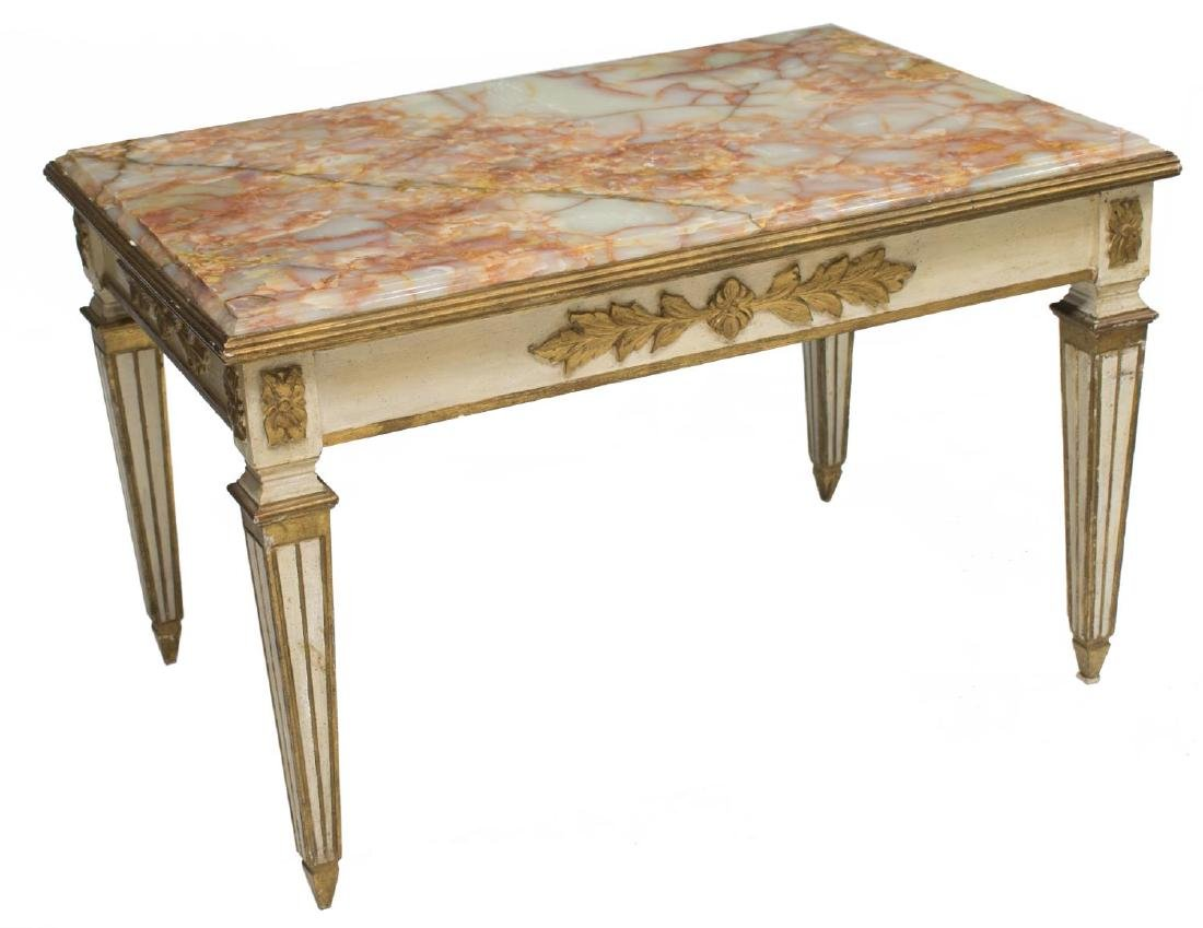 FRENCH LOUIS XVI ONYX TOP COFFEE TABLE