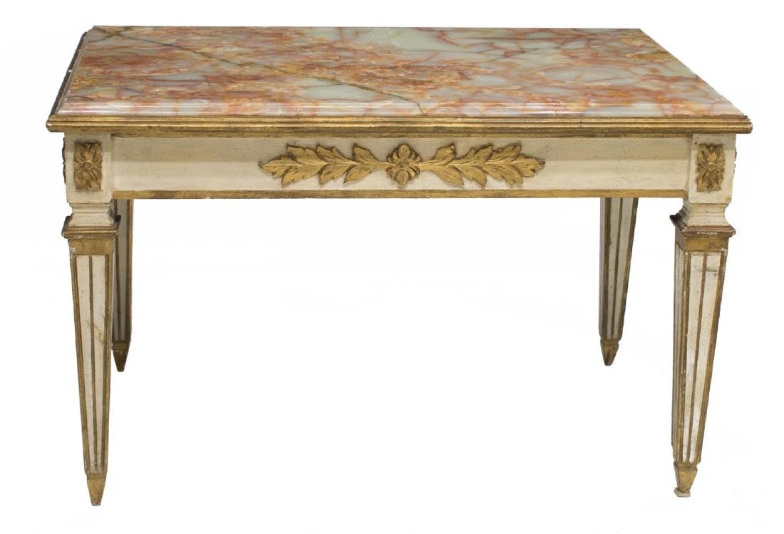 FRENCH LOUIS XVI ONYX TOP COFFEE TABLE - 2