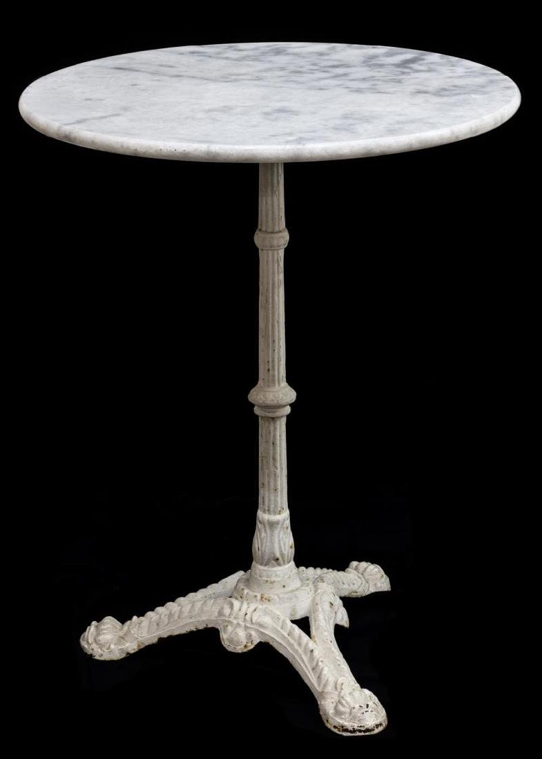 FRENCH MARBLE TOP IRON BASE BISTRO TABLE