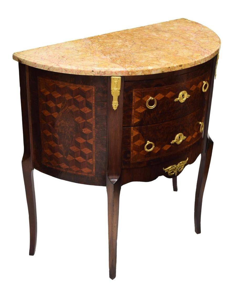 FRENCH MARBLE TOP DEMILUNE CHEST
