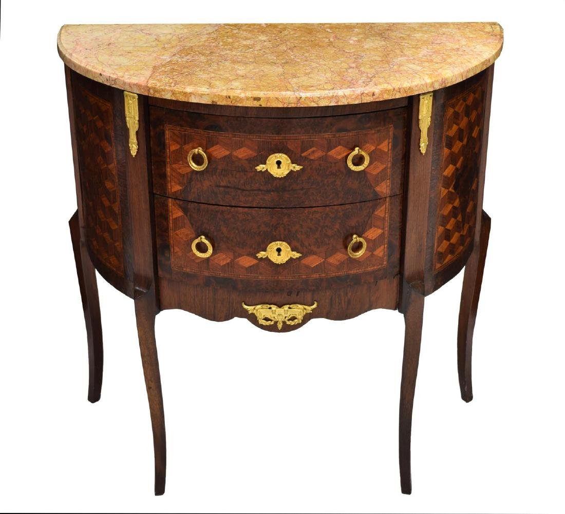 FRENCH MARBLE TOP DEMILUNE CHEST - 2