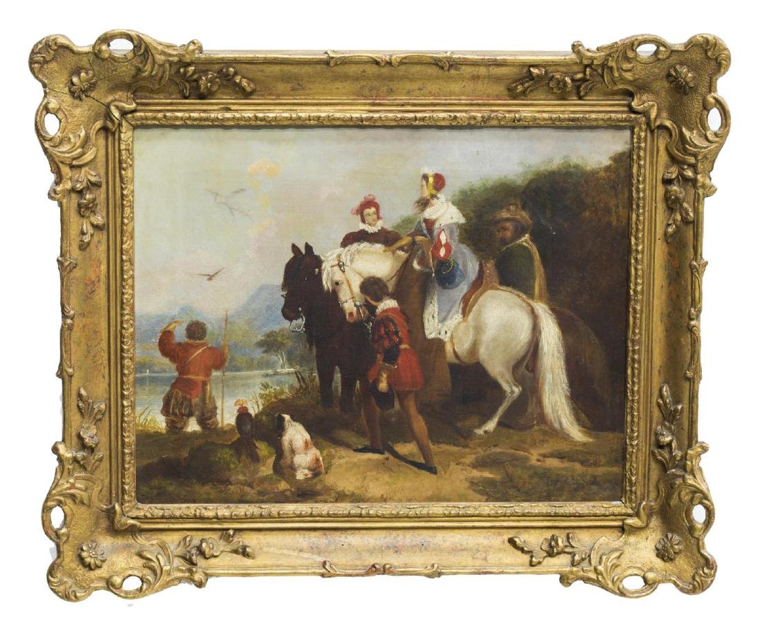 ENGLISH SCHOOL (19TH C) HUNTING LANDSCAPE PAINTING