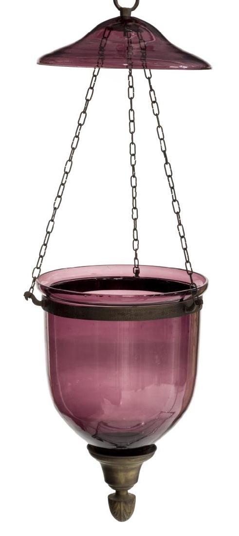 PURPLE GLASS BELL-JAR HANGING CHANDELIER