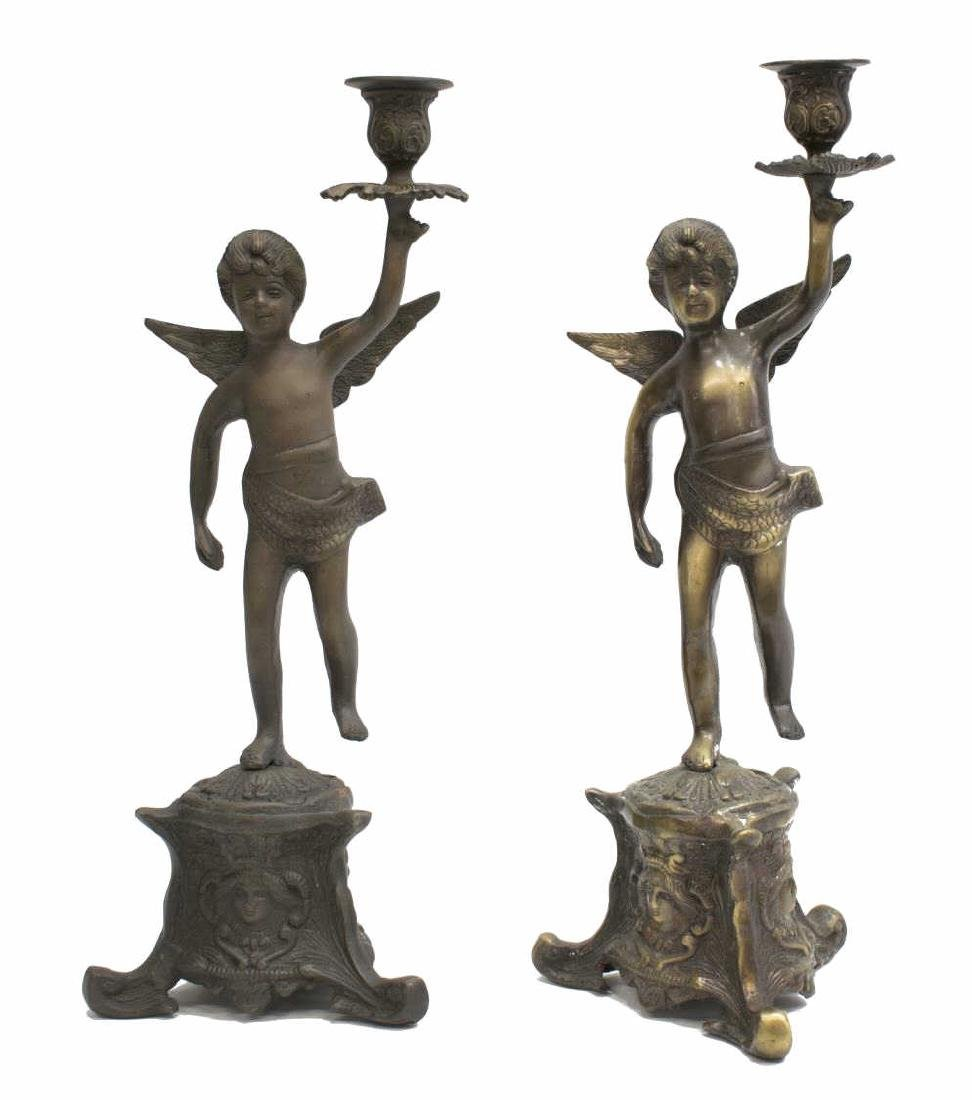 (2) PATINATED METAL PUTTI SINGLE-LIGHT CANDELABRA