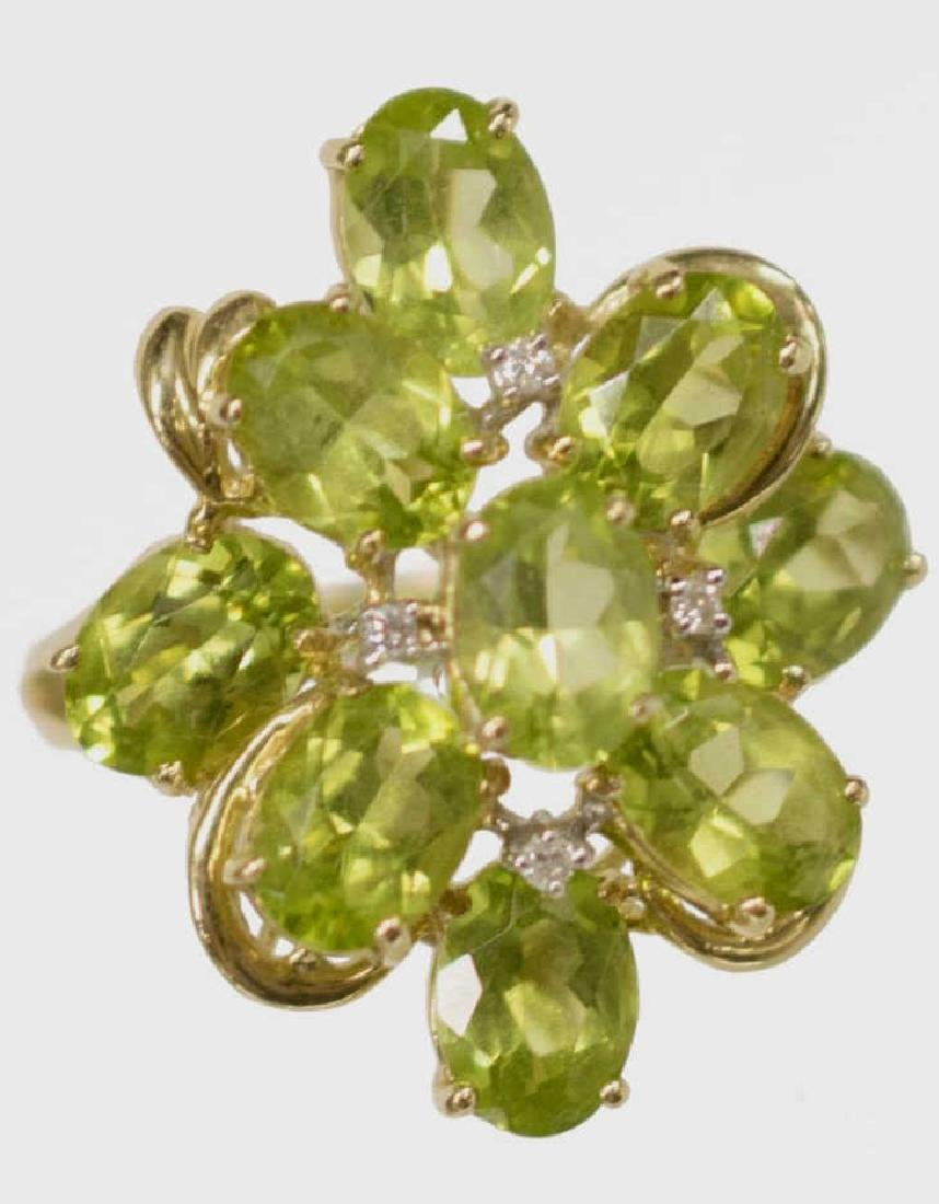 LADIES ESTATE 14KT PERIDOT & DIAMOND FLOWER RING - 2