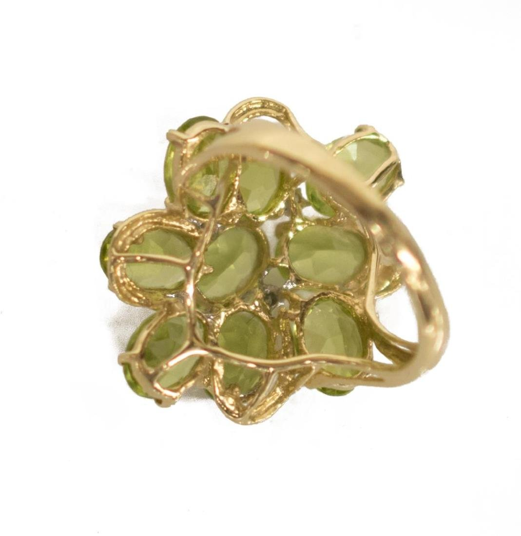 LADIES ESTATE 14KT PERIDOT & DIAMOND FLOWER RING - 3