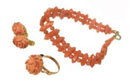 (4) LADIES ESTATE 18KT GOLD & CORAL JEWELRY GROUP