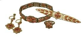 (5) LADIES ESTATE 10KT GOLD & CORAL JEWELRY SUITE