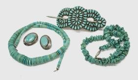 (6) LADIES ESTATE STERLING & TURQUOISE JEWELRY GRP