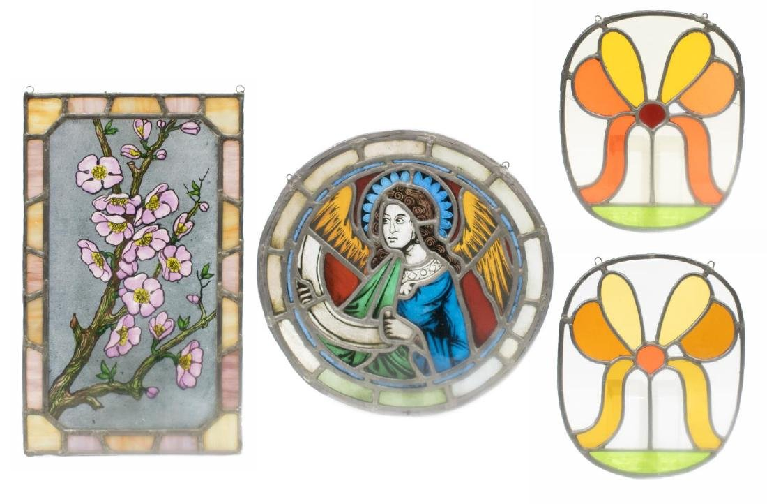 (4) ART NOUVEAU & RELIGIOUS STAINED GLASS PANELS