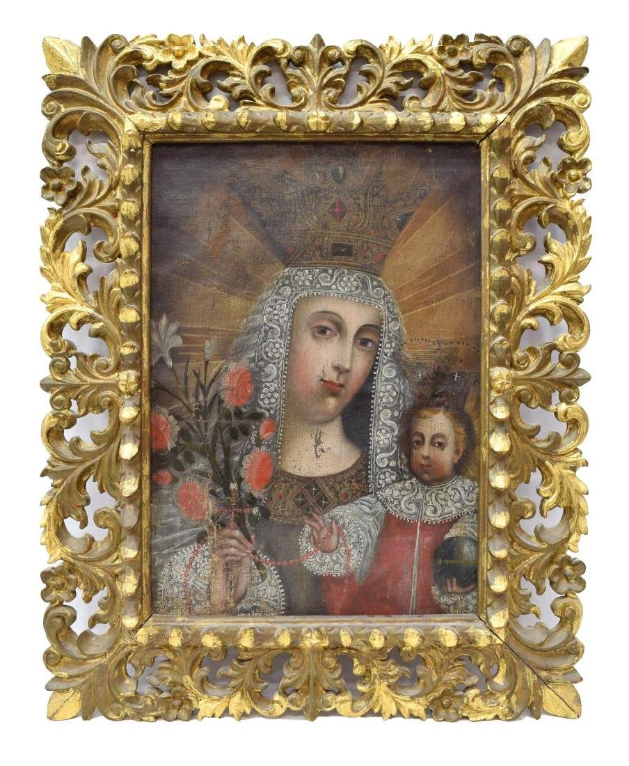 FRAMED CUZCO SCHOOL PAINTING, MADONNA & CHILD