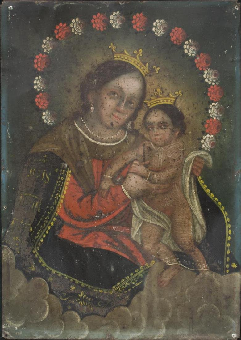 "MEXICO TIN RETABLO, ""OUR LADY, REFUGE OF SINNERS"""