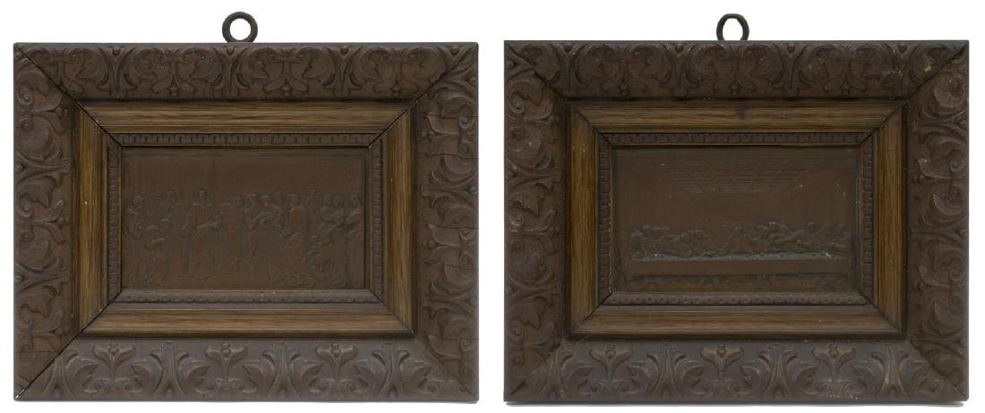 (2) FRAMED RELIGIOUS SCENE COPPER PLATES, 19TH C.