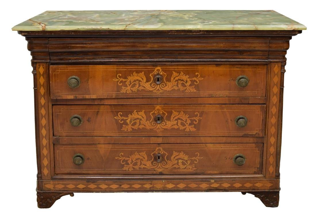 FRENCH CHARLES X STYLE ONYX TOP INLAID COMMODE - 2