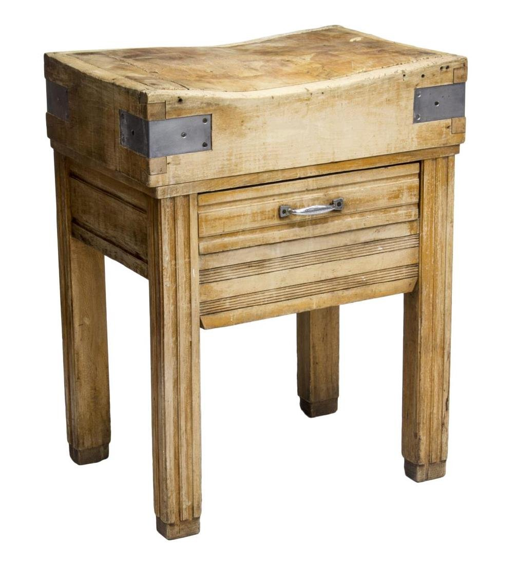 ANTIQUE CONTINENTAL BUTCHER BLOCK WORK TABLE