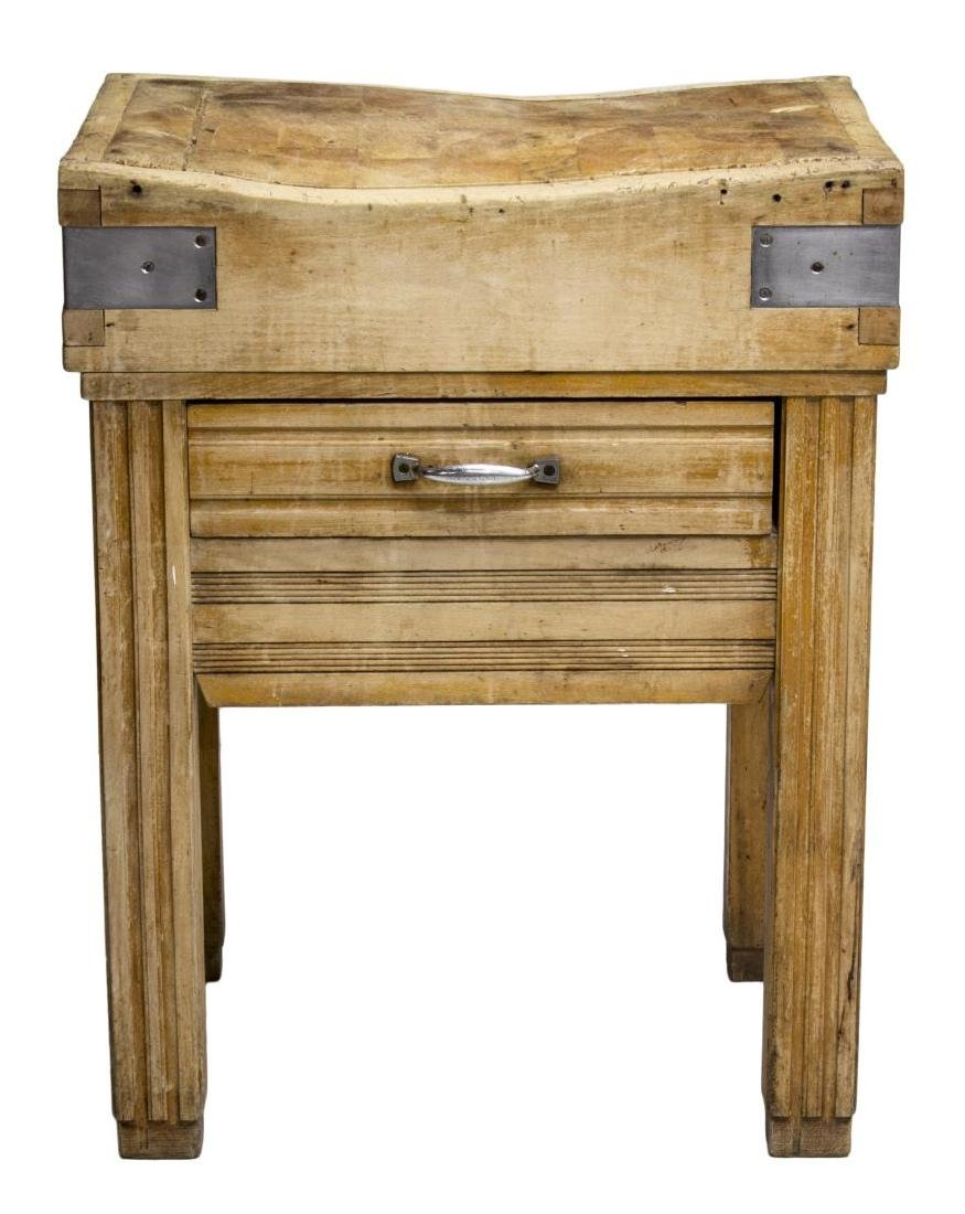 ANTIQUE CONTINENTAL BUTCHER BLOCK WORK TABLE - 2