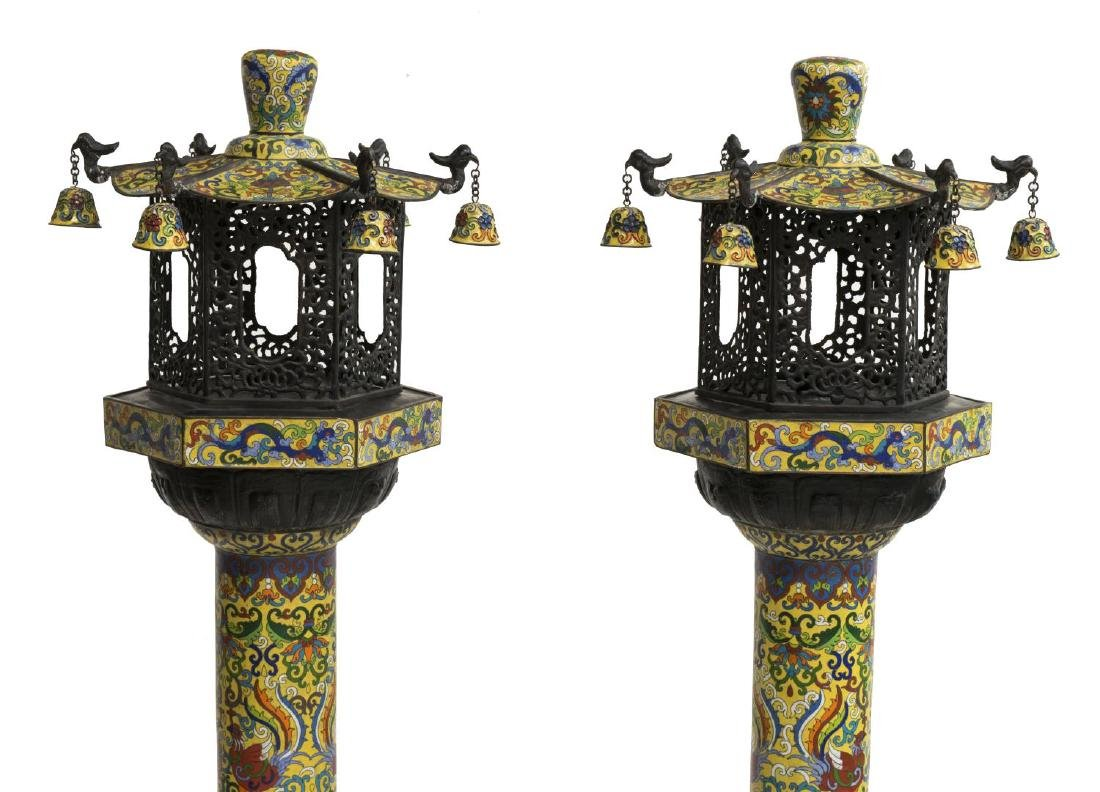 (2) CLOISONNE IMPERIAL YELLOW STANDING LANTERNS