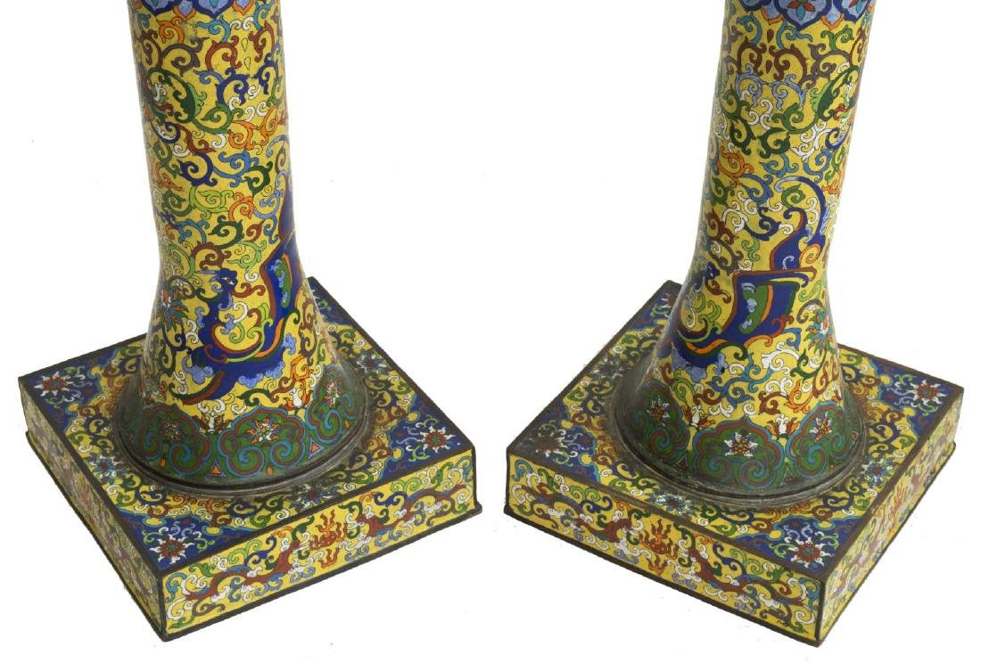 (2) CLOISONNE IMPERIAL YELLOW STANDING LANTERNS - 3