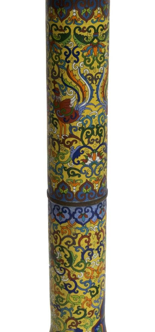 (2) CLOISONNE IMPERIAL YELLOW STANDING LANTERNS - 4