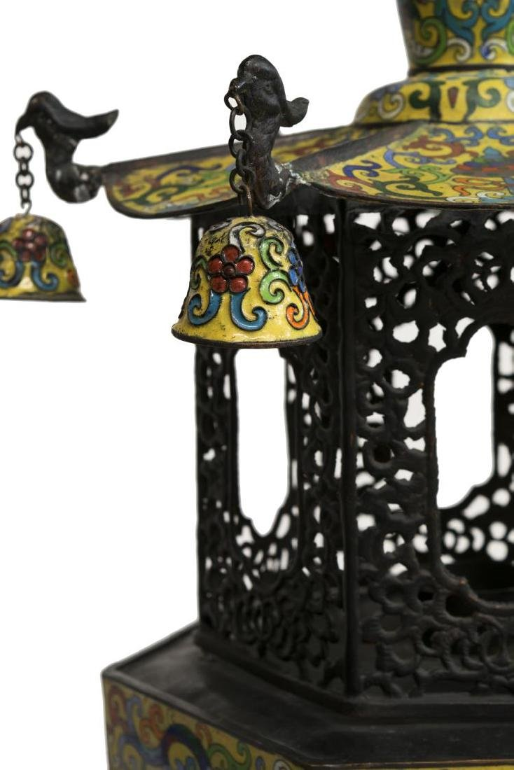 (2) CLOISONNE IMPERIAL YELLOW STANDING LANTERNS - 5