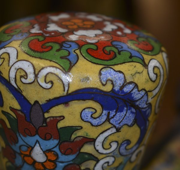 (2) CLOISONNE IMPERIAL YELLOW STANDING LANTERNS - 6