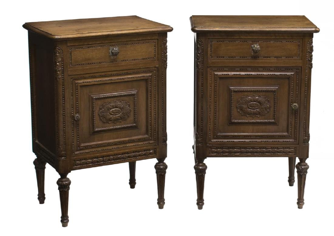 (2) ITALIAN LOUIS XVI CARVED BEDSIDE CABINETS