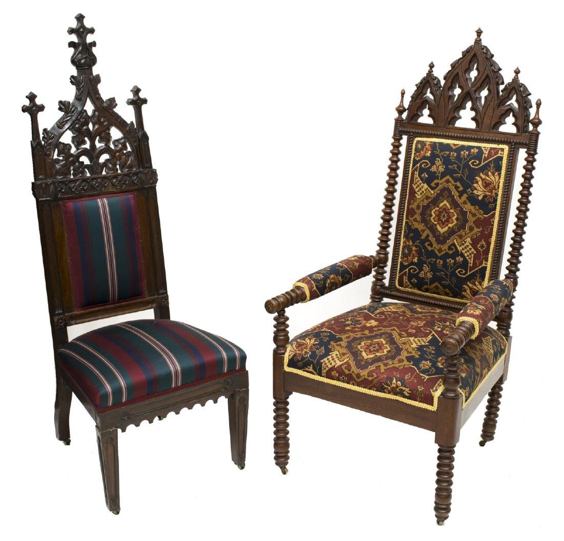 (2) GOTHIC STYLE CARVED CHAIRS