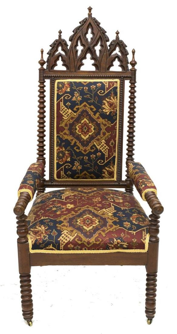 (2) GOTHIC STYLE CARVED CHAIRS - 4