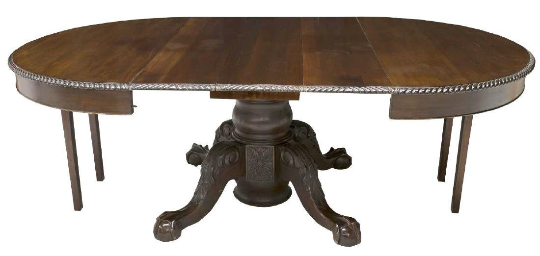 AMERICAN CHIPPENDALE STYLE CARVED EXTENSION TABLE - 3