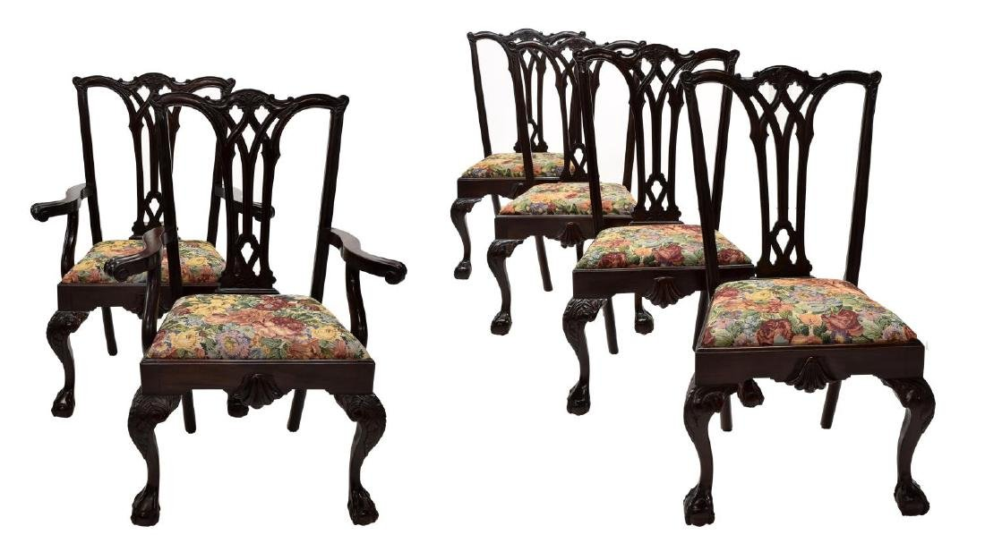 (6)CHIPPENDALE STYLE CARVED MAHOGANY DINING CHAIRS