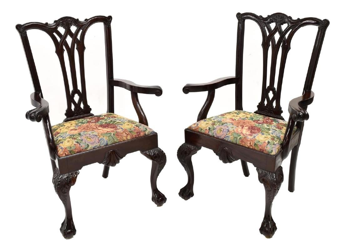 (6)CHIPPENDALE STYLE CARVED MAHOGANY DINING CHAIRS - 2