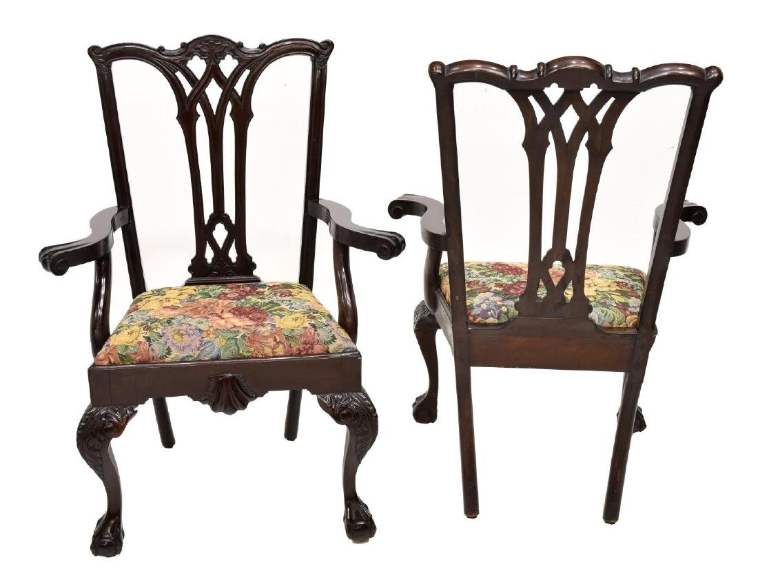 (6)CHIPPENDALE STYLE CARVED MAHOGANY DINING CHAIRS - 3
