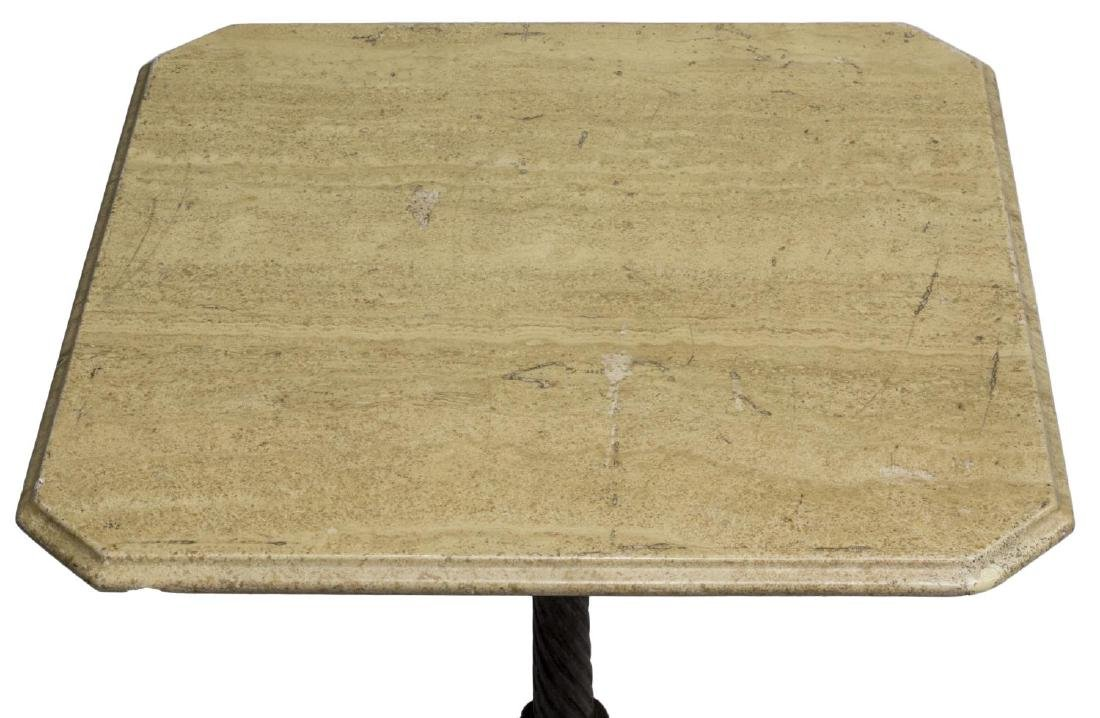 ANTIQUE FRENCH CAST IRON & MARBLE BISTRO TABLE - 2