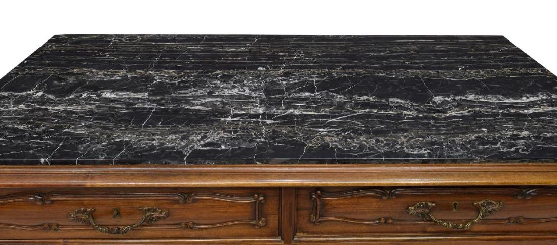 ITALIAN CARVED WALNUT MARBLE TOP COMMODE - 3