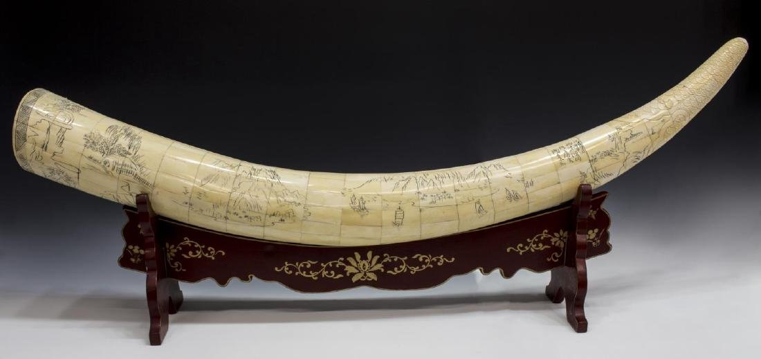LARGE CHINESE CARVED & TILED BONE TUSK ON STAND - 4