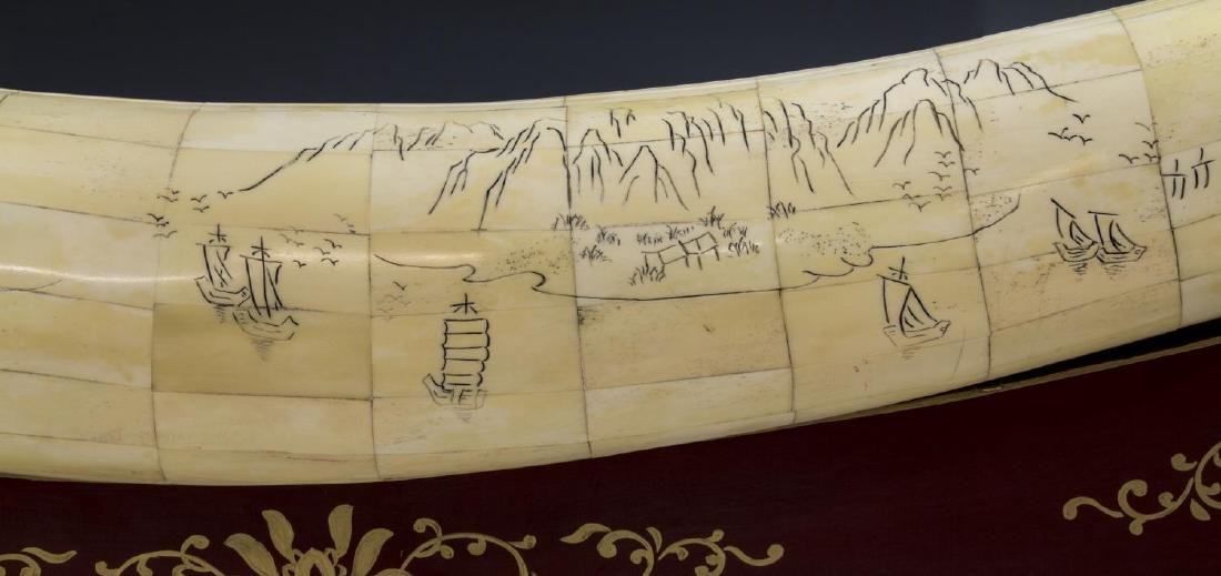 LARGE CHINESE CARVED & TILED BONE TUSK ON STAND - 6