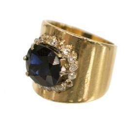 LADIES ESTATE 14KT GOLD SAPPHIRE & DIAMOND RING
