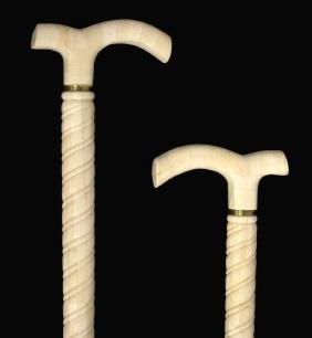 (2) TILED BONE & GILT METAL WALKING CANES